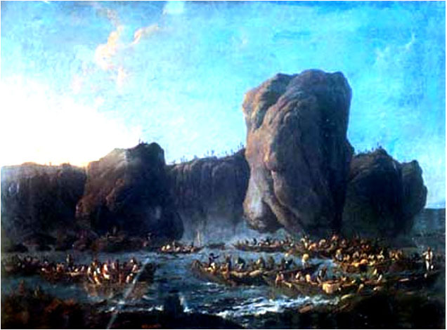 Pillemont painting of the wreck of the San Pedro de Alcantara