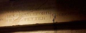 Inscription in the crypt of St Martins