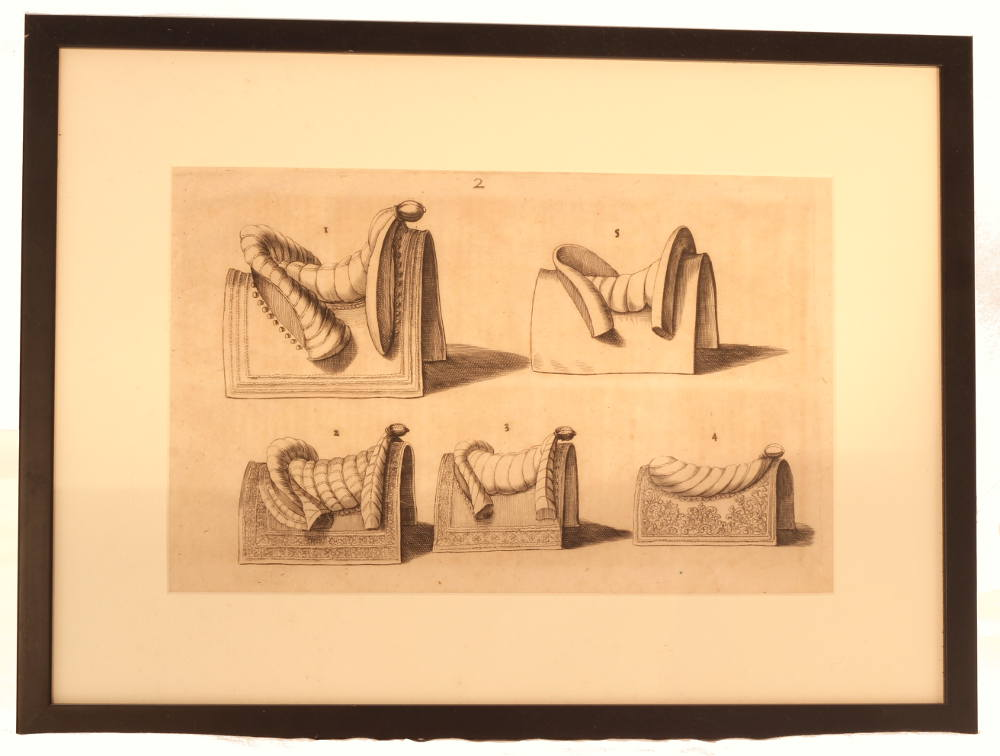 Engraving of 18th century saddles