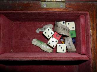Bone dice and labels