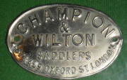 Plaque from Champion & Wilton saddle