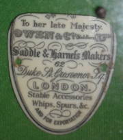 Label from Edwardian saddle